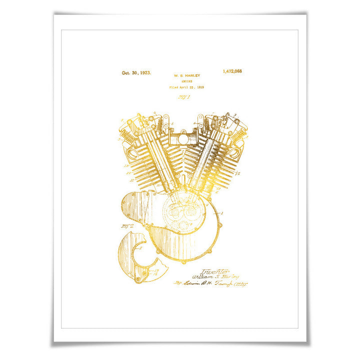 Harley Motorcycle Engine Vintage Patent Gold Foil Art Print. 7 Foil Colours. Motorbike Poster. Biking Art Print