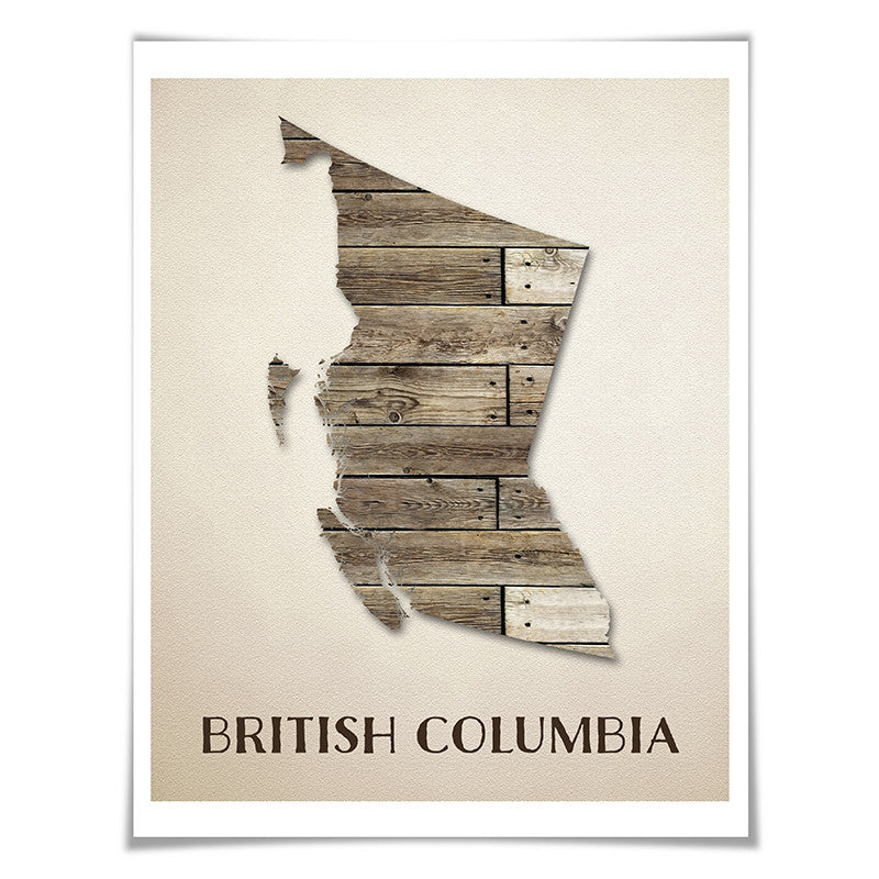 British Colombia Map Art Print. 5 Sizes. Travel Poster. Custom Province. Canada Map. Rustic Art Home Decor.