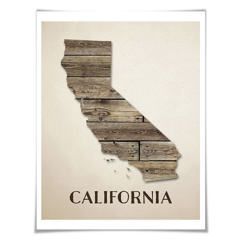 California Map Art Print. 5 Sizes. Travel Poster. Custom State. USA Map. Rustic Art Home Decor.