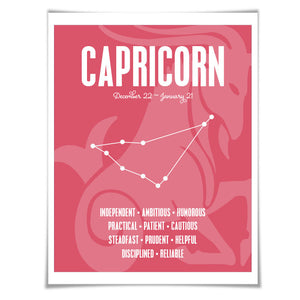 Capricorn Personality Character Traits Art Print. 60 Colours/5 Sizes. Astrology Zodiac Horoscope