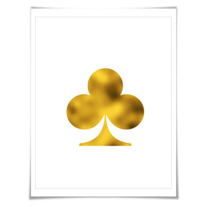 Ace of Clubs Silhouette Art Print. 7 Foil Colours/3 Sizes. Playing Cards. Game Room Poker Wall Decor