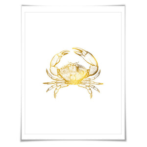 Crab Gold Foil Nautical Art Print. 7 Foil Colours/3 Sizes. Kitchen Art. Crab Poster. Cottage Wall Art.