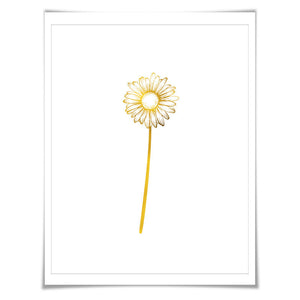 Daisy Flower Gold Foil Art Print. 7 Foil Colours. 3 Sizes. Floral Art. Nature Poster. Foil Flower Print