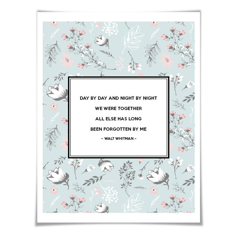 We Were Together Walt Whitman Quote. 5 Sizes/24 Backgrounds. Wedding Gift Anniversary Romantic Poster Poetry