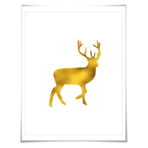 Deer Gold Foil Nursery Art Print. 7 Foil Colours. 3 Sizes. Animal Print, Wildlife Art.