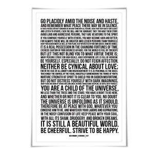 Desiderata Max Ehrmann Art Print. 60 Colours/3 Sizes. Poetry Poster. Inspirational. Graduation