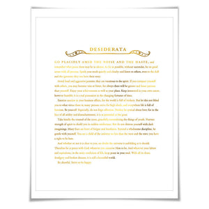 Desiderata Gold Foil Art Print. 7 Foil Colours. Graduation Gift. Inspirational Motivational Poster. Literary Quote