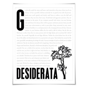 Desiderata by Max Ehrmann Literary Art Print. 4 Sizes. Inspirational Art, Motivational Print