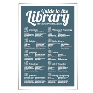 Dewey Decimal System Art Print. 60 Colour/3 Sizes. Library Poster. School Poster. Classroom Art