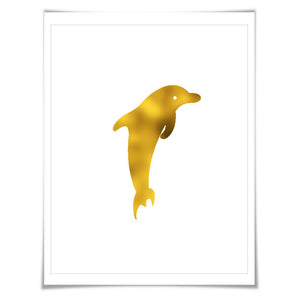 Dolphin Art Print, Nautical Art.. 7 Foil Colours. 3 Sizes. Animal Print, Sealife Art Print