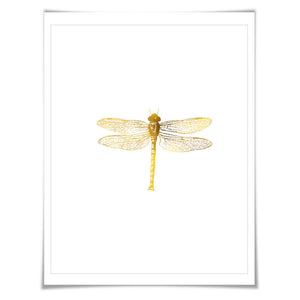 Dragonfly Gold Foil Art Print. 7 Foil Colours. 3 Sizes. Dragonfly Poster, Nursery Art Print