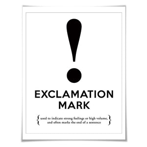 Exclamation Mark Punctuation Print. 60 Colours/5 Sizes. Grammar Poster. Classroom Art. English Teacher Gift.