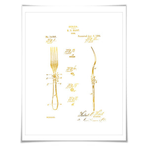 Fork Patent Drawing Illustration Gold Foil Art Print. 7 Foil Colours. Vintage Poster Cooking Baking Kitchen Chef