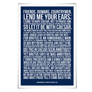 Friends Romans Countrymen William Shakespeare Art Print. 60 Colours/3 Sizes. Julius Caesar Play. Theatre Poster