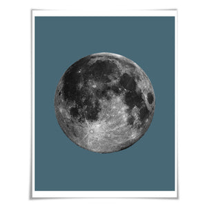 Full Moon Poster La Luna Art Print. 60 Colours/5 Sizes. Moon Illustration Astronomy Space Poster Science Celestial