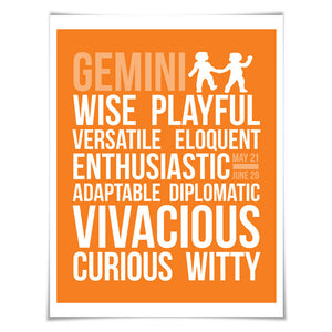 Gemini Personality Character Traits Art Print. 60 Colours/5 Sizes. Astrology Zodiac Horoscope
