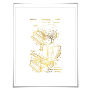 Grand Piano Gold Foil Patent Illustration. 7 Foil Colours. Classical Music Poster. Pianist Art Print