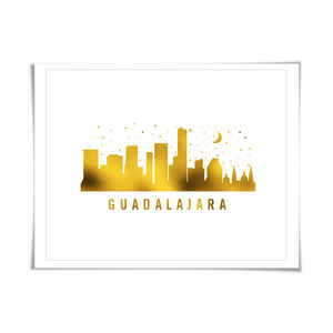 Guadalajara Skyline Gold Foil Art Print. 7 Foil Colours/3 Sizes. Travel Poster. City Skyline Art