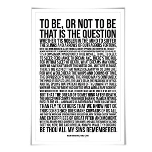 Hamlet's Soliloquy To Be or Not to Be Art Print. 60 Background Colours/3 Sizes. Shakespeare Play. Theatre Poster