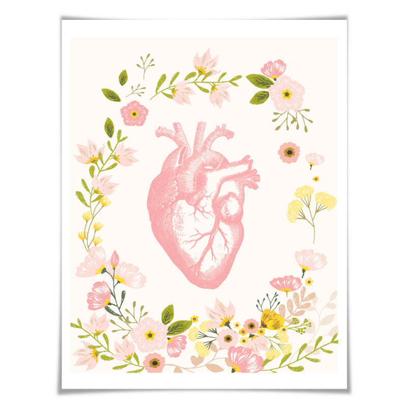 Anatomical Human Heart Art Print. Anatomy Wall Art. Doctor Medical Science Poster Pink Floral Room Decor