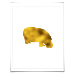 Hippopotamus Gold Foil Art Print. 7 Foil Colours/3 Sizes. Animal, Wildlife, Hippopotamus Hippo Poster.