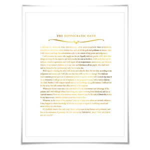 The Hippocratic Oath Gold Foil Art Print. 7 Foil Colours. Graduation Gift. Hippocrates Quote Poster Doctor Medical Student