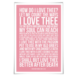 How Do I Love Thee Elizabeth Barrett Browning Art Print. 60 Colours/3 Sizes. Poetry Poster. Sonnet 43 Romantic Poem