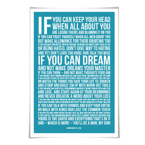 If by Rudyard Kipling Art Print. 60 Colours/3 Sizes. Poetry Poster. Inspirational. Graduation Gift.