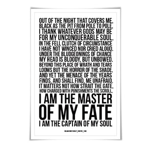 Invictus William Ernest Henley Art Print. 60 Colours/3 Sizes. Poetry Poster. Inspirational. Graduation