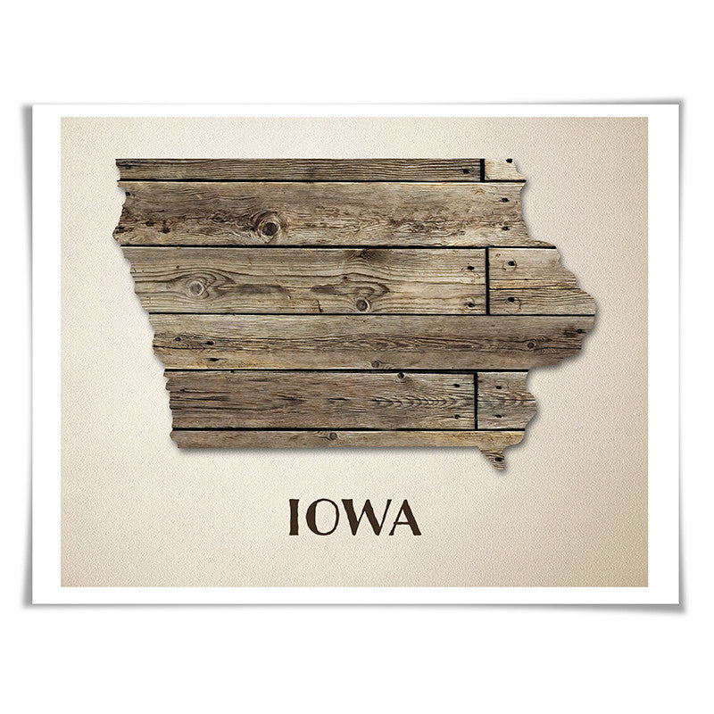 Iowa Map Art Print. 5 Sizes. Travel Poster. Custom State. USA Map. Rustic Art Home Decor.