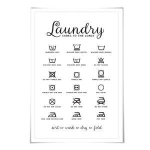 Laundry Symbols Laundry Room Art Poster. 60 Colours/4 Sizes. Laundry Procedures Rules Sign