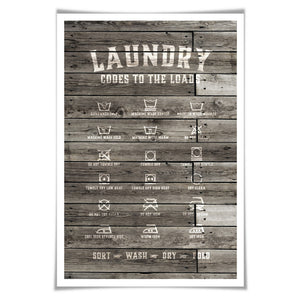 Laundry Symbols Laundry Room Art Poster. 4 Sizes. Wood Rustic Laundry Procedures Rules