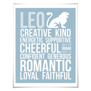 Leo Personality Character Traits Art Print. 60 Colours/5 Sizes. Astrology Zodiac Horoscope
