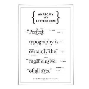 Anatomy of a Letterform. 60 Colours. 3 Sizes. Graphic Designer Gift. Typography Poster. Font Poster.
