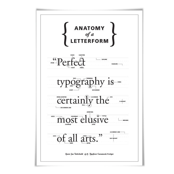 Anatomy of a Letterform 60 Colours 3 Sizes Graphic Designer