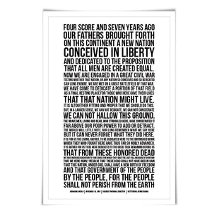 Abraham Lincoln Presidential Speech Gettysburg Address Art Print. 60 Colours/3 Sizes. American History Poster