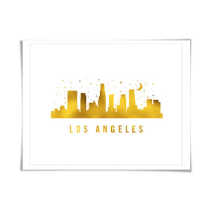 Los Angeles Skyline Gold Foil Art Print. 7 Foil Colours/3 Sizes. Travel Poster. City Skyline Art