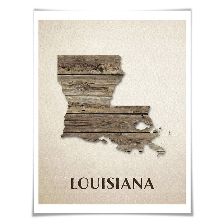 Louisiana Map Art Print. 5 Sizes. Travel Poster. Custom State. USA Map. Rustic Art Home Decor.