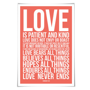 Love is Patient Love is Kind Art Print. 60 Colours/3 Sizes. 1st Corinthians 13 Scripture Poster Christian Bible Verse