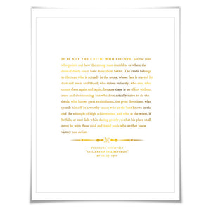 Theodore Roosevelt Man in the Arena Speech Gold Foil Print. 7 Foil Colours. Graduation Gift. American History Political