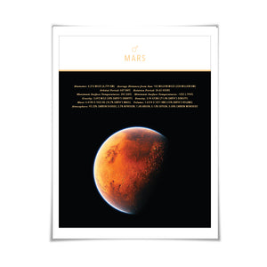 Planet Mars Art Print. 4 Sizes. Solar System Astronomy Space Poster Science Celestial Classroom
