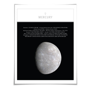 Planet Mercury Art Print. 4 Sizes. Solar System Astronomy Space Poster Science Celestial Classroom