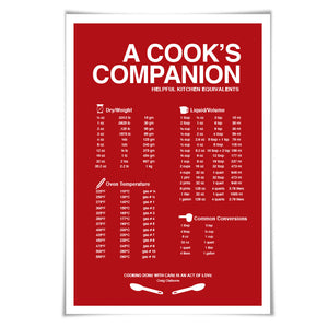 Cooking Measurements Conversions Art Print. 60 Colours/3 Sizes. Kitchen Cooking Poster. Chef Gift