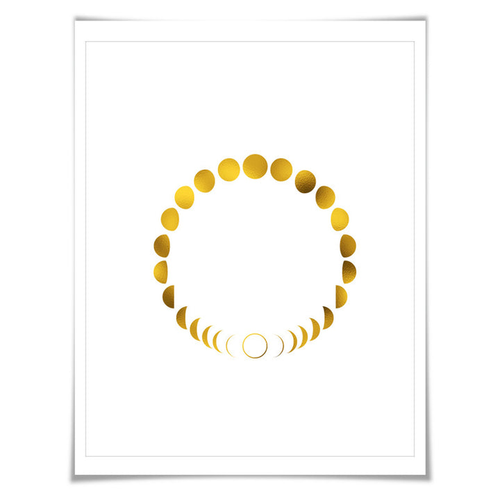 Moon Phases Circle Gold Foil Art Print 7 Colours 3 Sizes Space