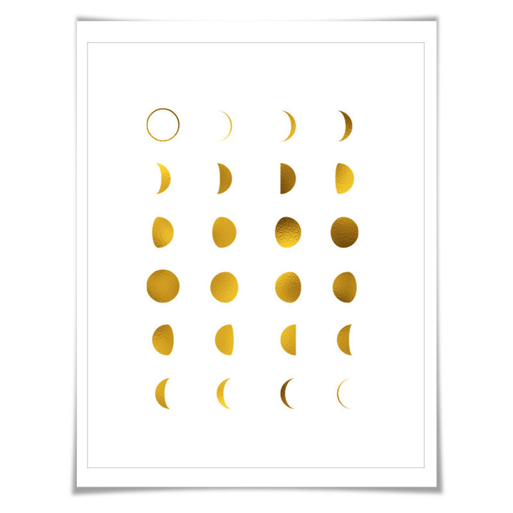 Moon Phases Gold Foil Art Print 7 Colours 3 Sizes Space
