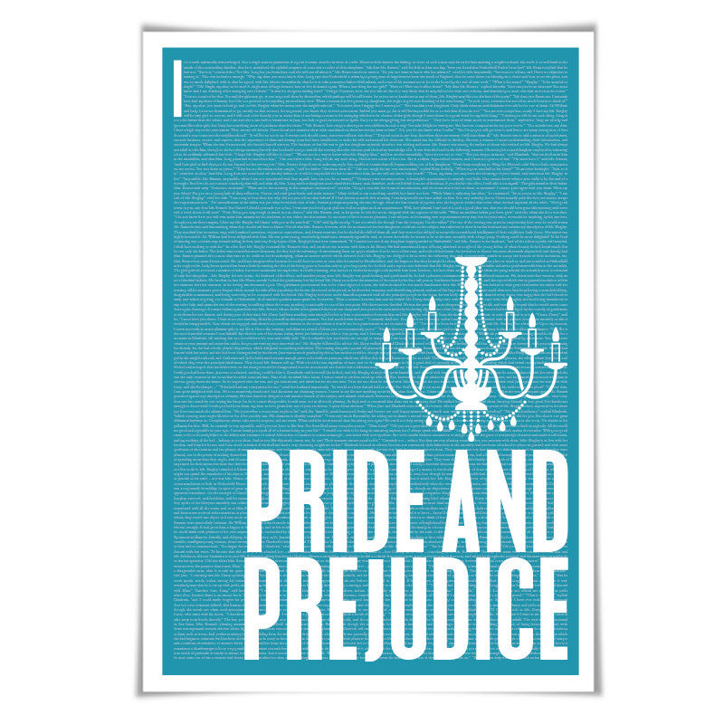 Pride and Prejudice by Jane Austen. Literary Art Print. 60 Colours/4 Sizes. Literature Poster. Book Art.