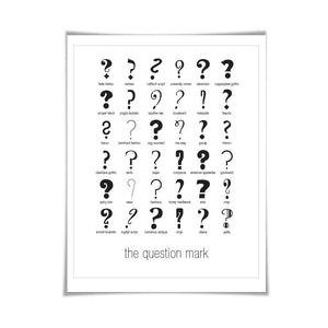 Question Marks Punctuation Print. 60 Colours/5 Sizes. Fonts Poster. Graphic Design Typefaces