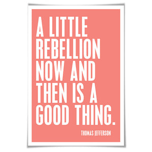 A Little Rebellion Now and Then is a Good Thing. Thomas Jefferson. 60 Colours/5 Sizes. American History Poster. Presidential Quote.
