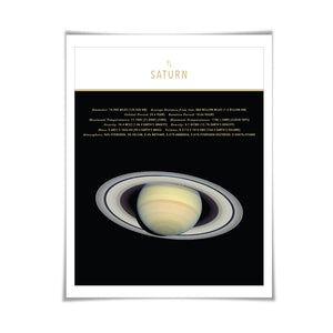 Planet Saturn Art Print. 4 Sizes. Solar System Astronomy Space Poster Science Celestial Classroom