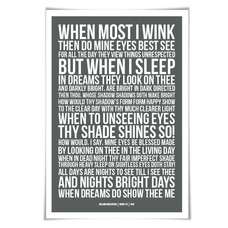 Sonnet 43 William Shakespeare Quote Poster. 60 Colours/3 Sizes. Poem Literary Art Romantic Love Literature